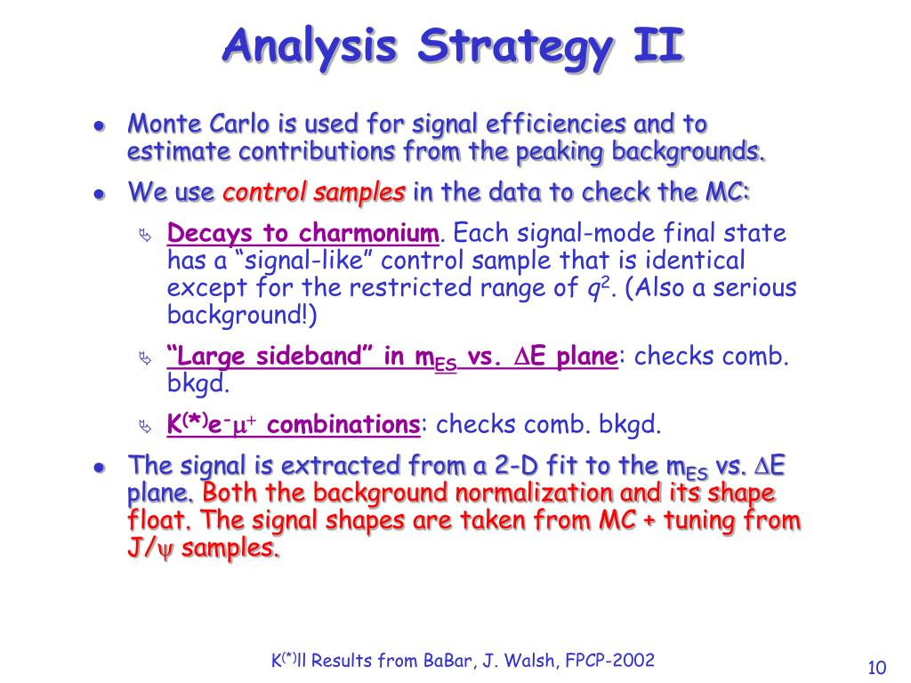 Analysis Strategy II