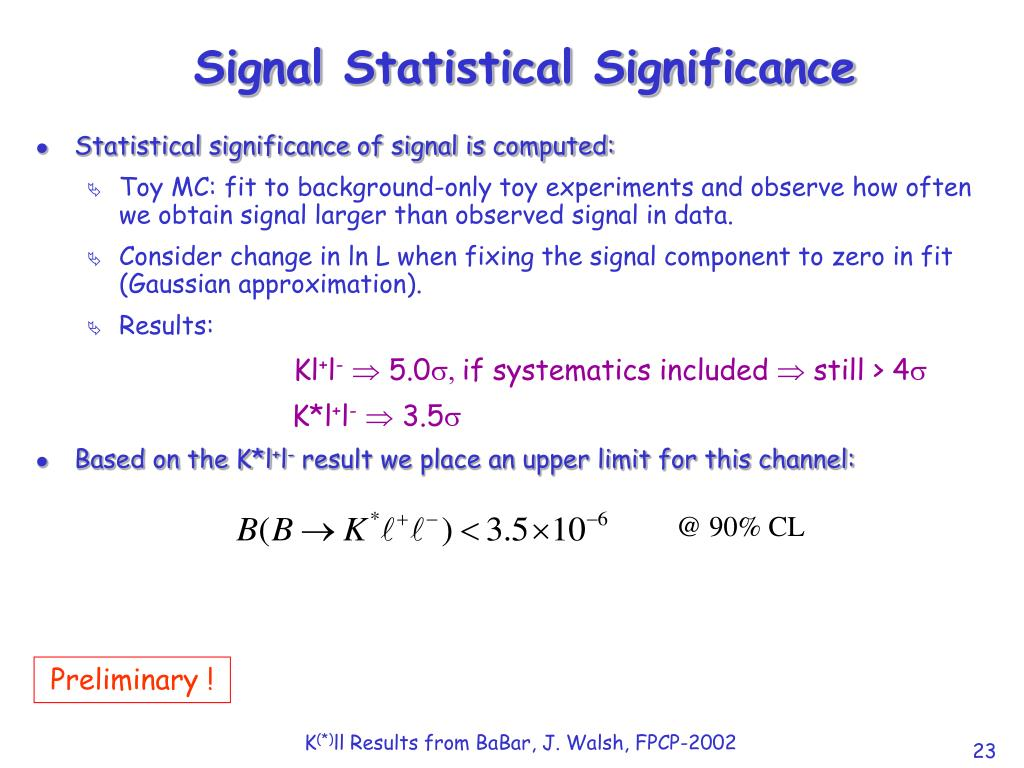 Signal Statistical Significance