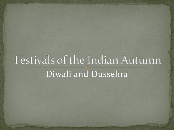 festivals of the indian autumn n.