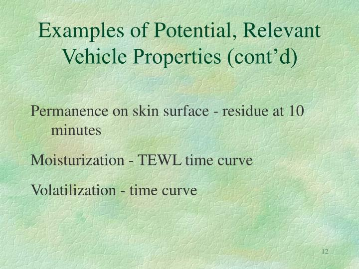 Examples of Potential, Relevant Vehicle Properties (cont'd)