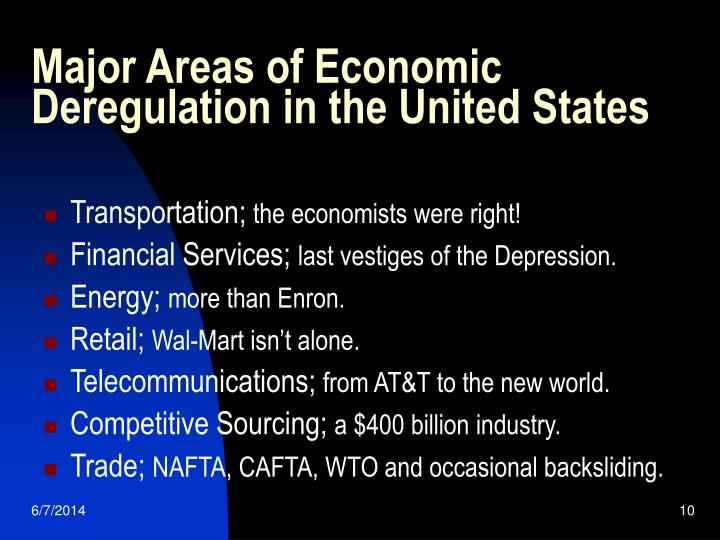 Major Areas of Economic Deregulation in the United States