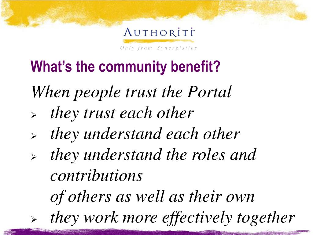 What's the community benefit?