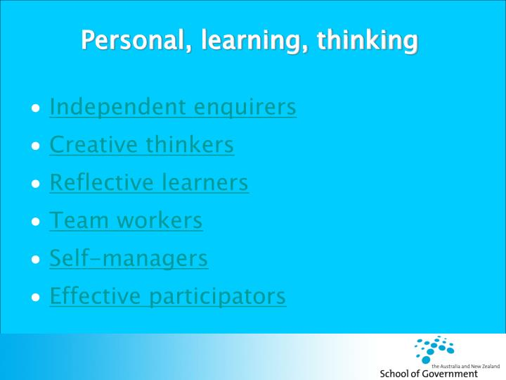 Personal, learning, thinking