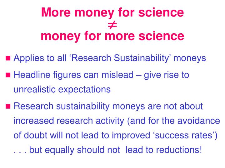 More money for science