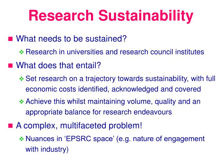 Research Sustainability