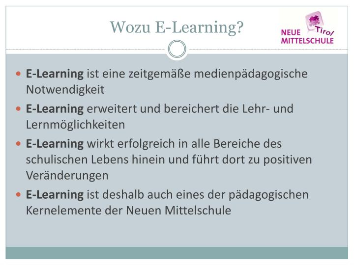 Wozu E-Learning?