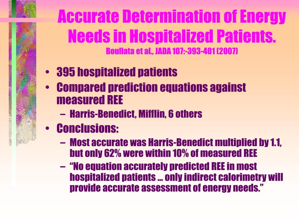 Accurate Determination of Energy Needs in Hospitalized Patients.
