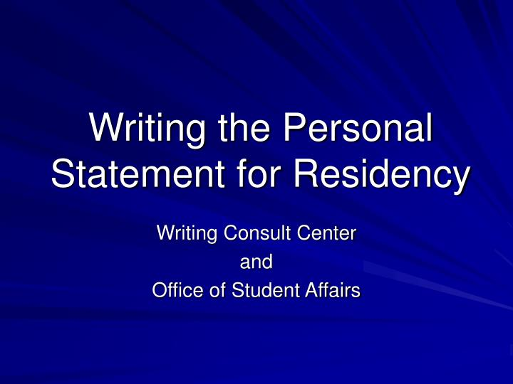 writing the personal statement for residency n.