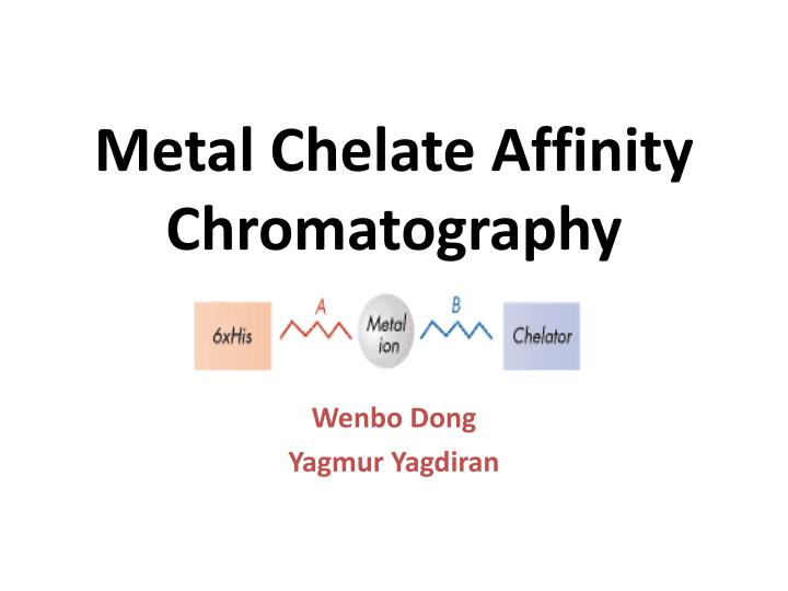 metal chelate affinity chromatography n.