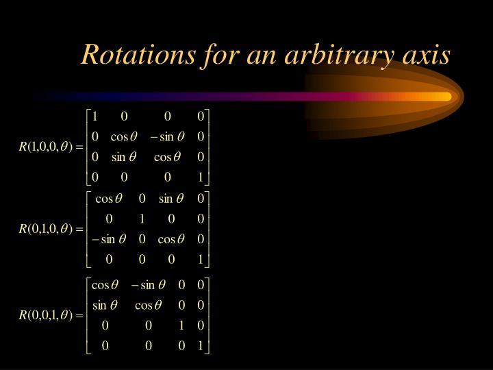 Rotations for an arbitrary axis