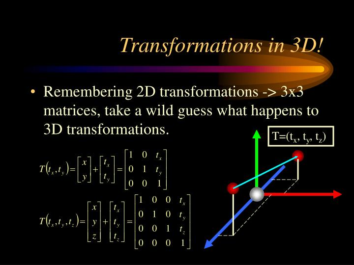Transformations in 3d