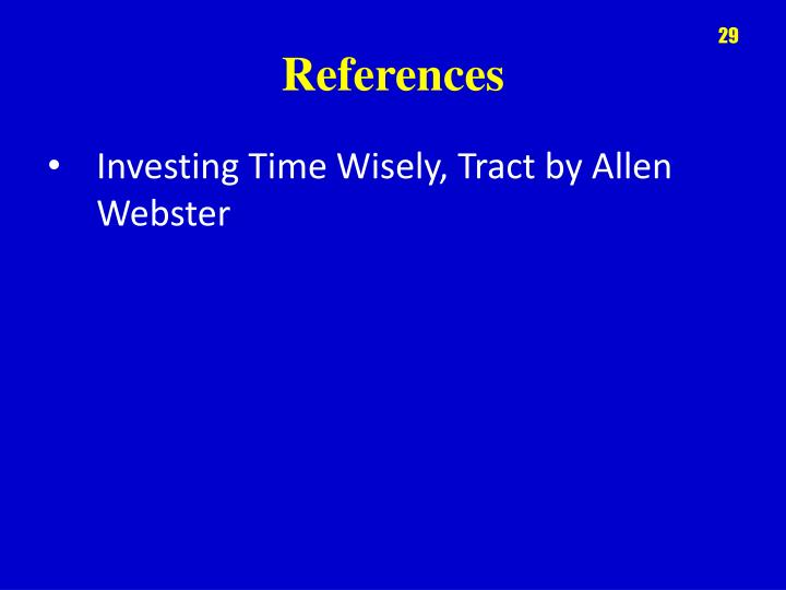 Investing Time Wisely, Tract by Allen Webster