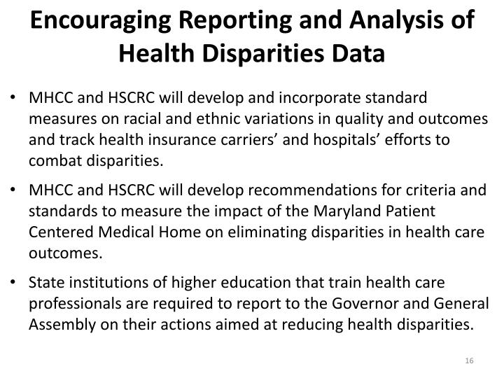Encouraging Reporting and Analysis of Health Disparities Data