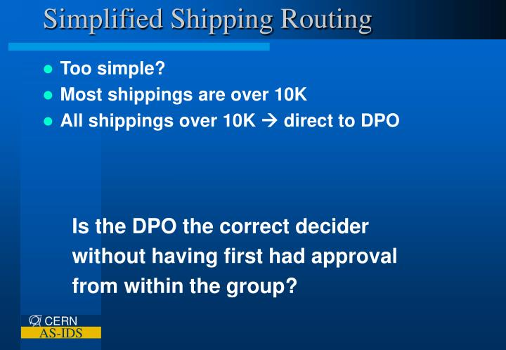 Simplified Shipping Routing