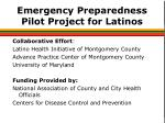emergency preparedness pilot project for latinos