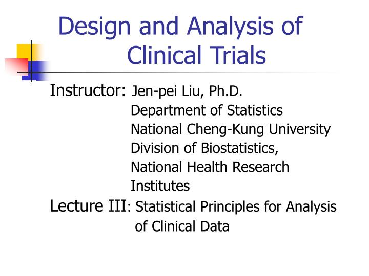 design and analysis of clinical trials n.