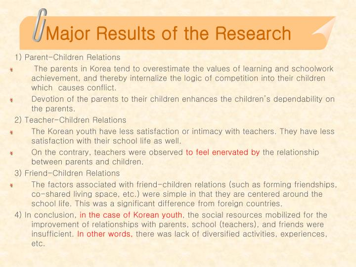Major results of the research