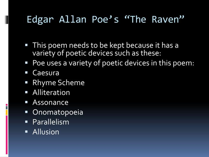 Ppt Poetic Devices In The Raven Powerpoint Presentation Id1356394