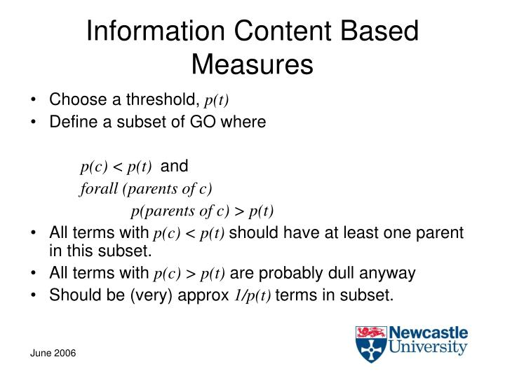 Information Content Based Measures