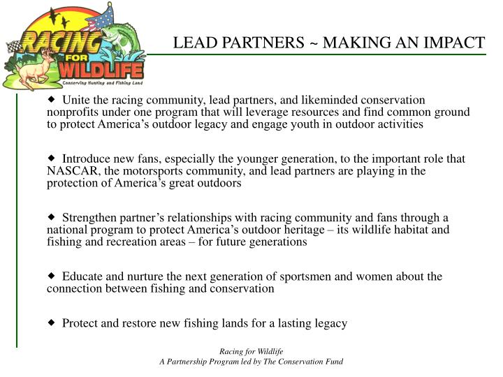 LEAD PARTNERS ~ MAKING AN IMPACT