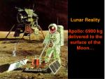 lunar reality apollo 6900 kg delivered to the surface of the moon