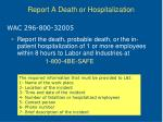 report a death or hospitalization