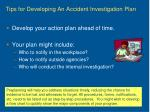 tips for developing an accident investigation plan