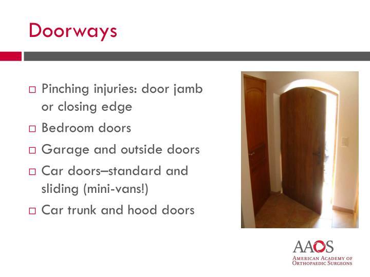 Pinching injuries: door jamb or closing edge