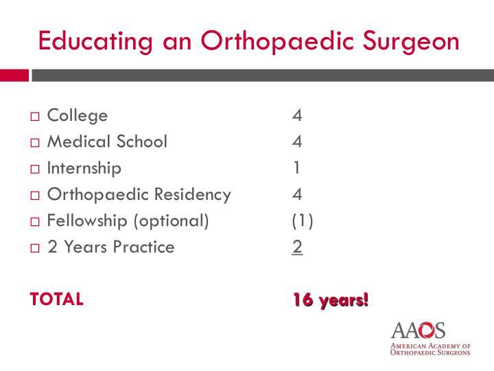 Educating an Orthopaedic Surgeon