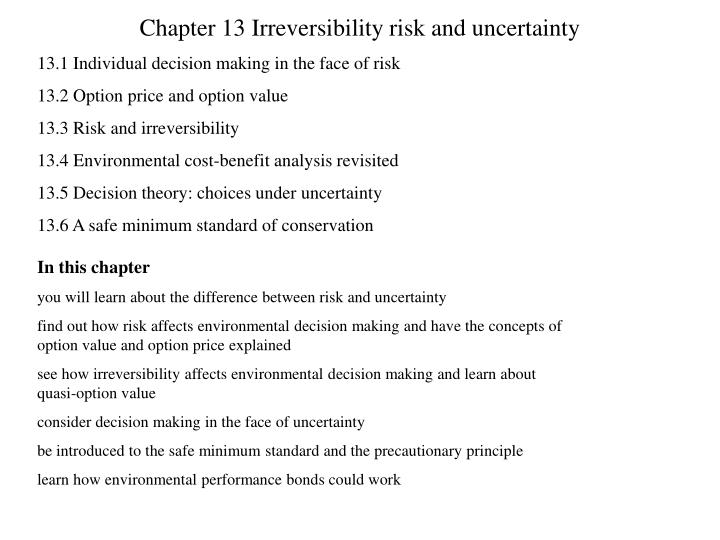 chapter 13 irreversibility risk and uncertainty n.