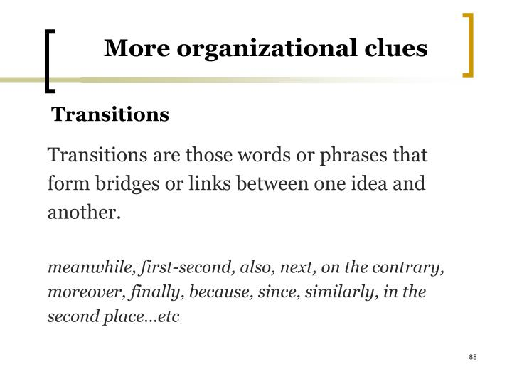 More organizational clues