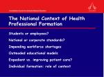 the national context of health professional formation