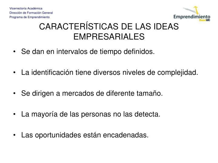 CARACTERÍSTICAS DE LAS IDEAS EMPRESARIALES