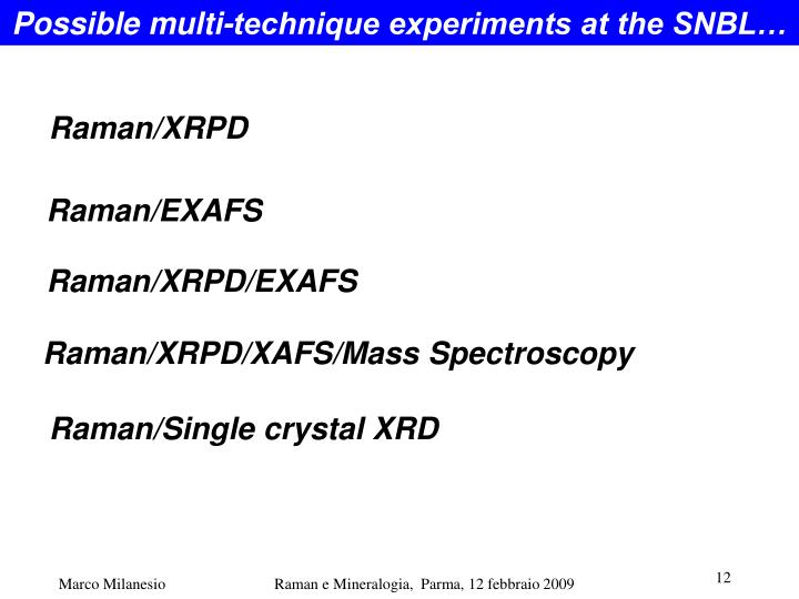 Possible multi-technique experiments at the SNBL…