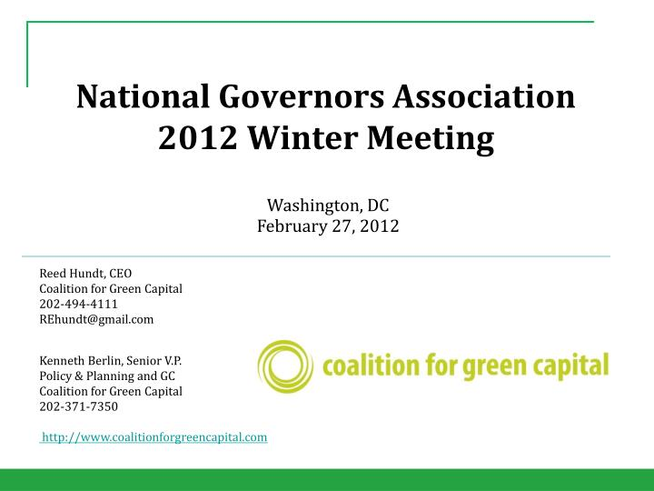national governors association 2012 winter meeting