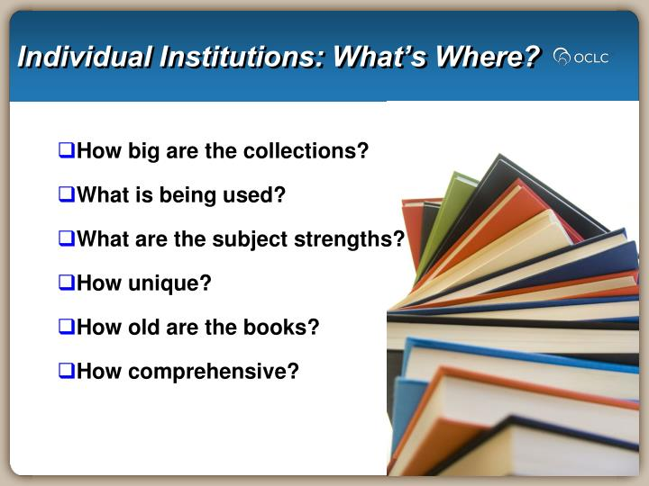 Individual Institutions: What's Where?