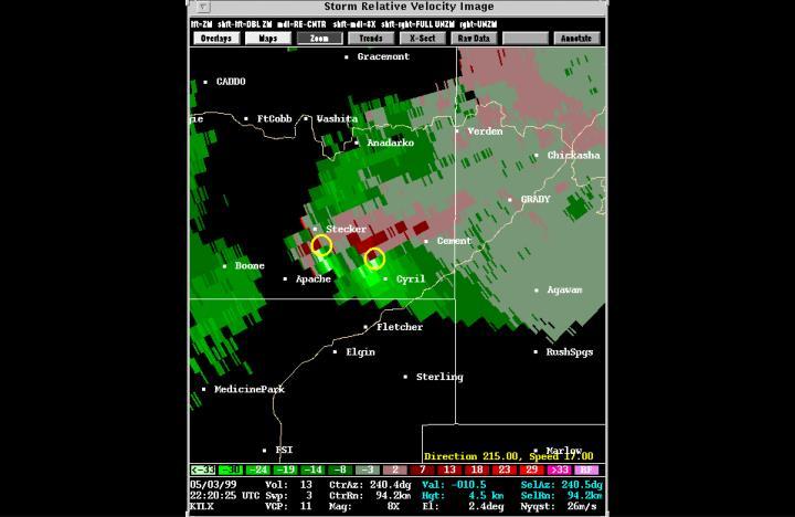Doppler image—2 mesocyclones