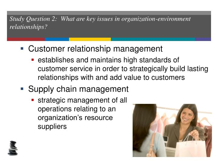 Study Question 2:  What are key issues in organization-environment relationships?