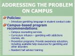 addressing the problem on campus