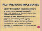 past projects implemented