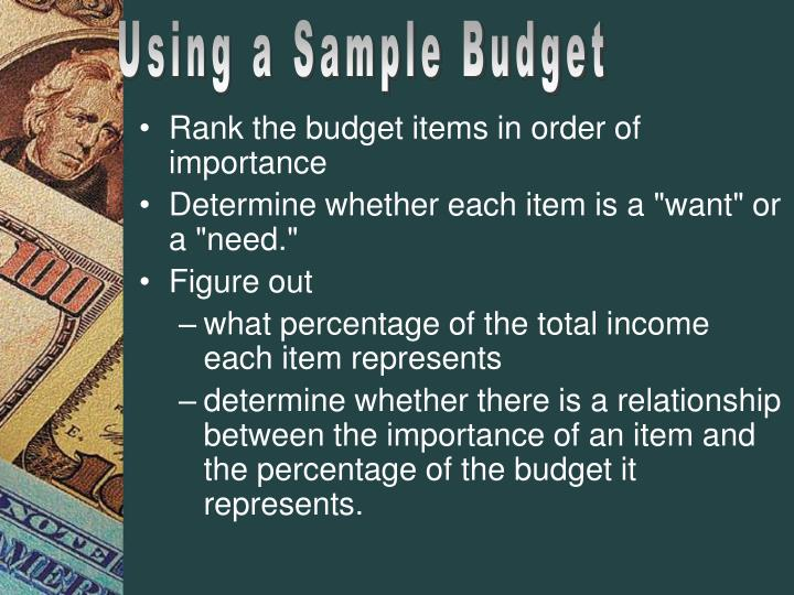 Using a Sample Budget