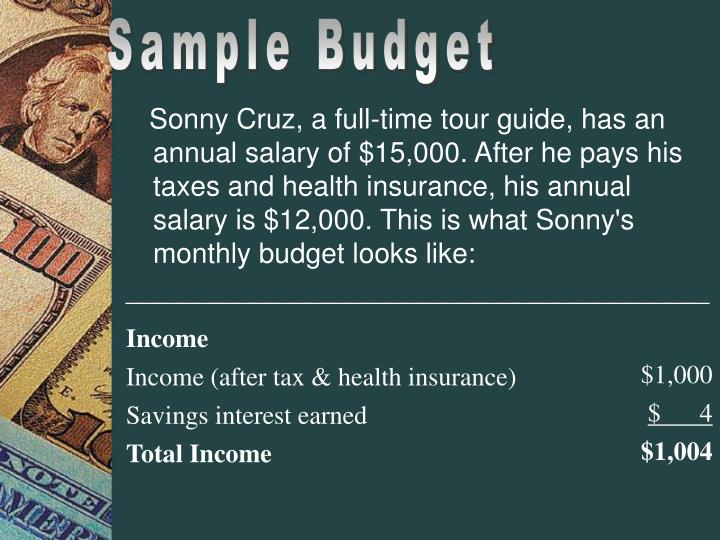 Sonny Cruz, a full-time tour guide, has an annual salary of $15,000. After he pays his taxes and health insurance, his annual salary is $12,000. This is what Sonny's monthly budget looks like: