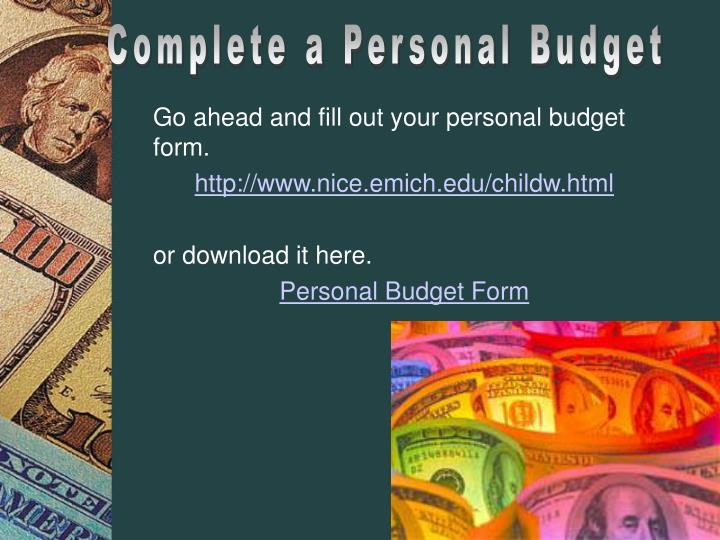Complete a Personal Budget