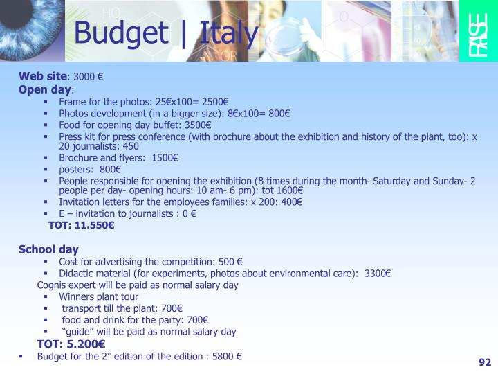 Budget   Italy
