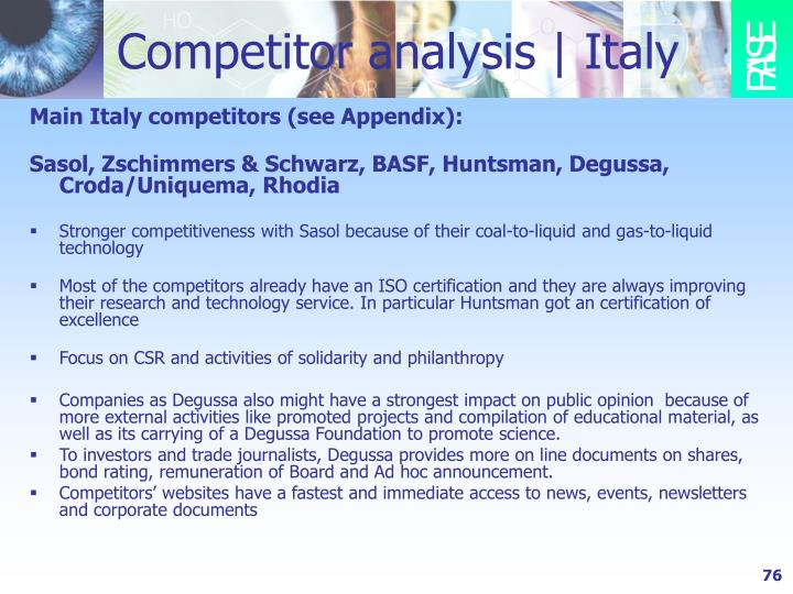 Competitor analysis   Italy