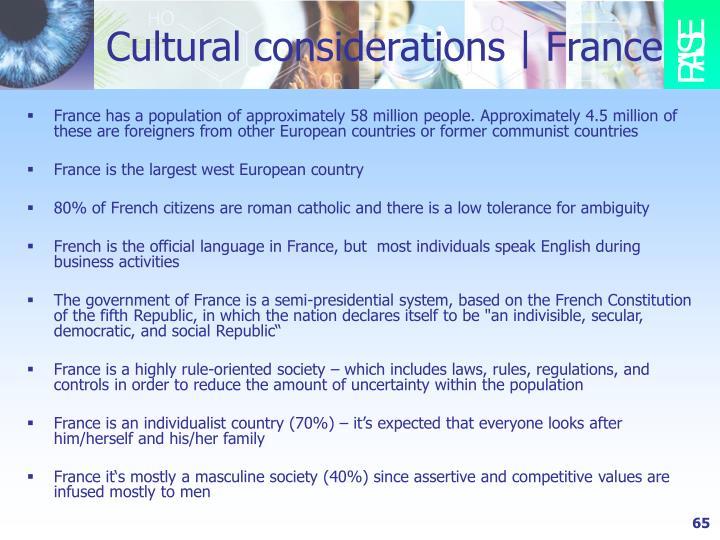 Cultural considerations   France
