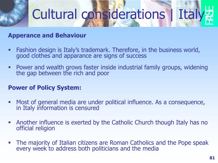 Cultural considerations   Italy