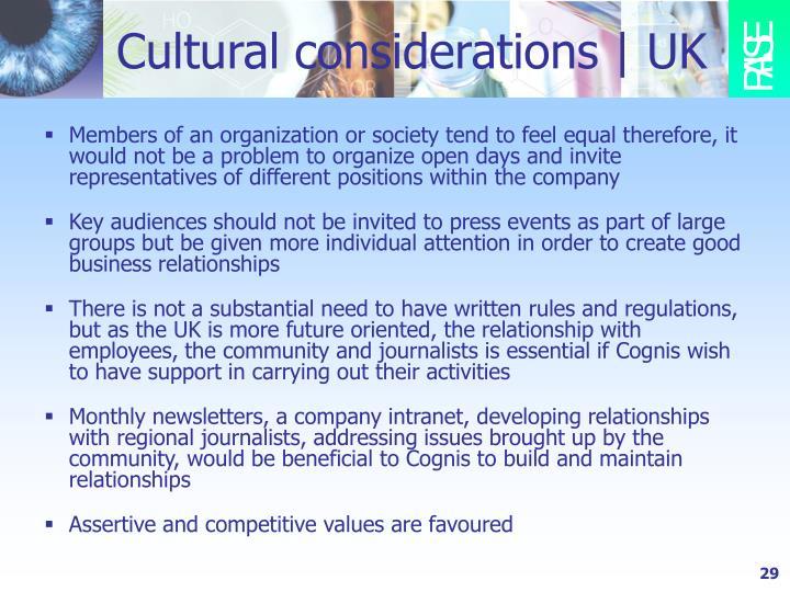 Cultural considerations   UK