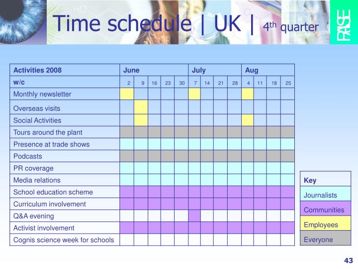 Time schedule   UK  