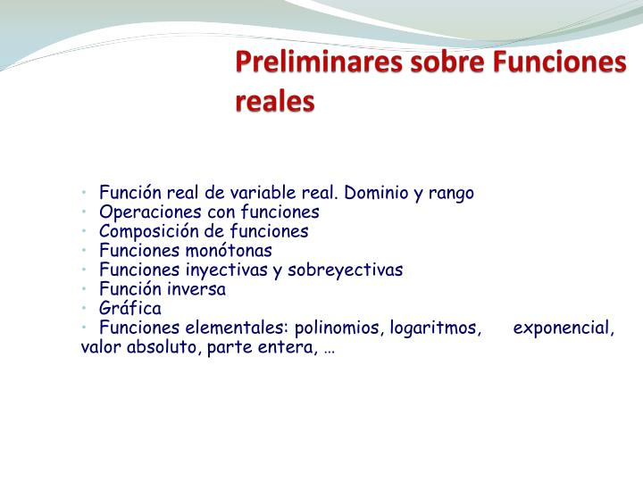 Preliminares sobre funciones reales